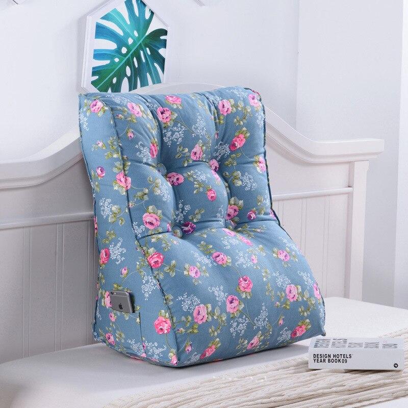 Треугольная талии сзади большой подушки удобная спинка с цветочным принтом подушка толщиной поясничного спинки подушка для стула