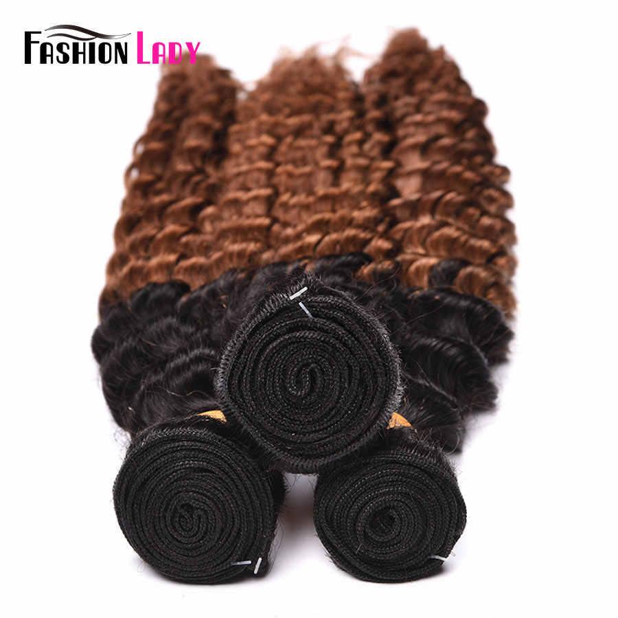 Moda señora Pre-coloreado Ombre pelo brasileño 2 tonos cabello humano tejido onda profunda paquetes 1b/30 marrón paquetes 4 paquetes no remy