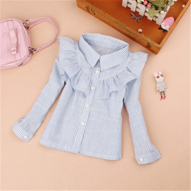 Students White Blouses For Girls School Uniforms Cotton Striped Shirts For Kids Tops 2 4 6 8 10 12 14 15 Years Teenage Blouses