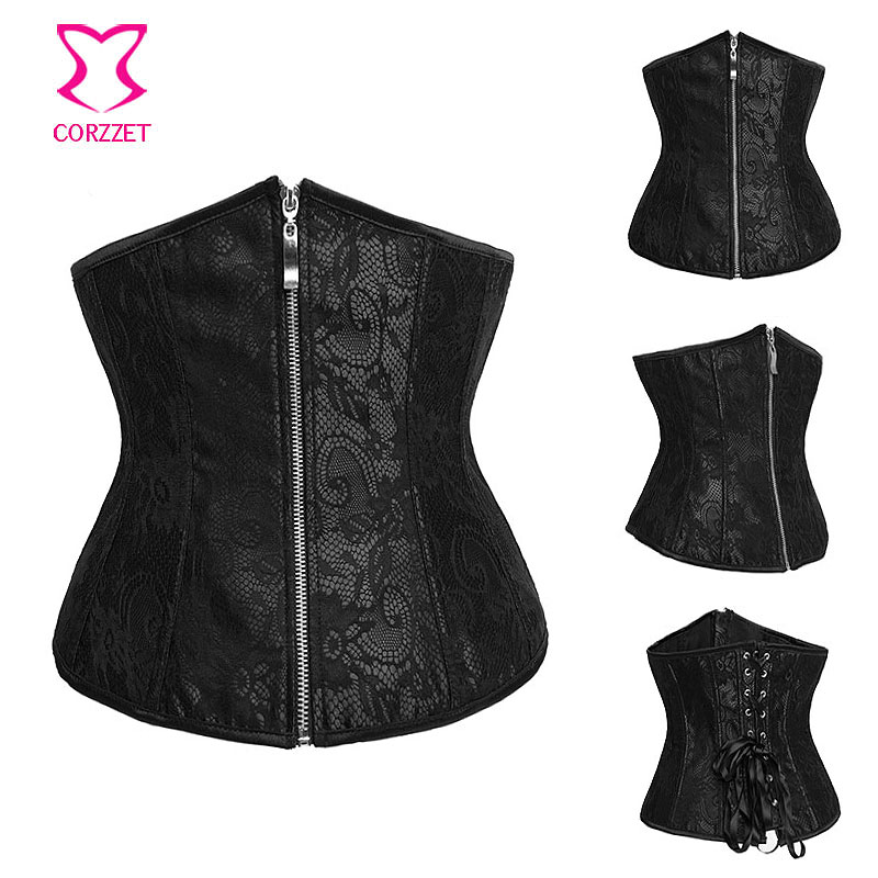 7a7d7cfe18a Black Satin And Lace Overlay Gothic Espartilhos Corset Corselet Underbust  Zipper Waist Trainer Sexy Corsets and Bustiers Korse-in Bustiers   Corsets  from ...