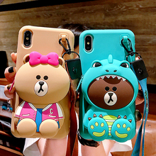3D Cartoon Totoro bear Wallet Phone Case For iPhone XR wallet 6 7 8 Plus X XS Max Purse Soft Anti-fall Lanyard Strap Cover
