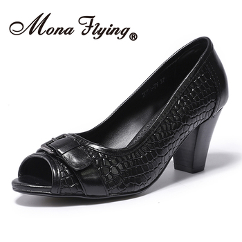 Mona Flying Women Leather Pumps Hand-made Casual Dress Buckle Slip-on Peep Toe Square Heel Shoes for Women Ladies 205H-7Y