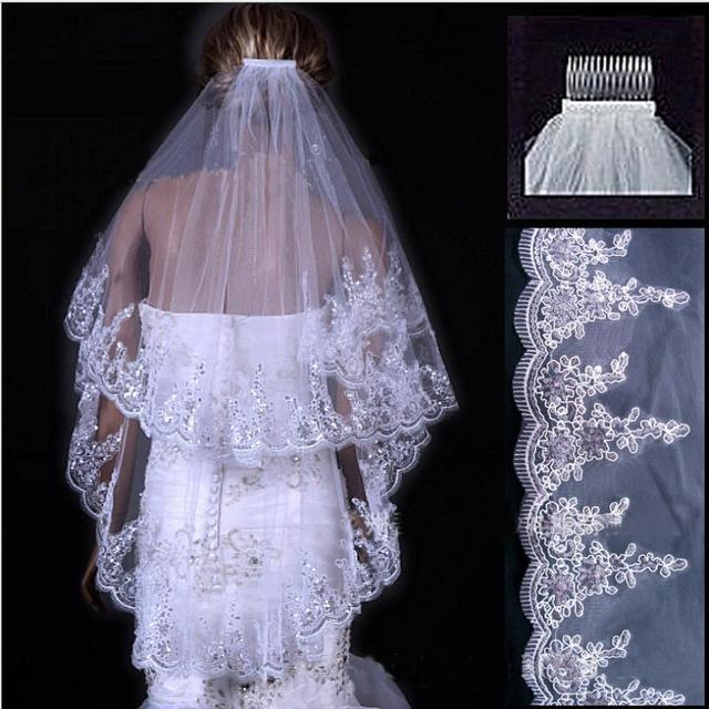Fansmile White/Ivory Bridesmaid Wedding Dresses Accessories Bridal Veils With Lace Hem Sequins Free Shipping
