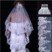 Fansmile أبيض/عاجي فساتين زفاف وصيفة الشرف اكسسوارات حجاب الزفاف مع دانتيل هيم ترتر شحن مجاني