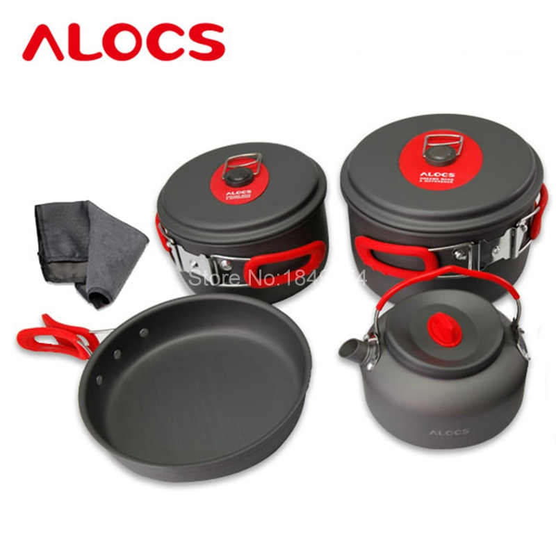 Alocs Modern 7pcs Outdoor Camping Kitchen Cookware Backpacking Cooking Picnic Spon Pots Frying Pan Kettle Cover Set CW-C06S цена в Москве и Питере