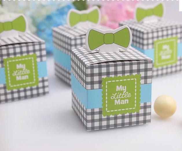 Wholesale 1000pcslot My Little Man Candy Box Square Wedding Favor Paper Gifts With Mustache Decor Event & Party Supplies