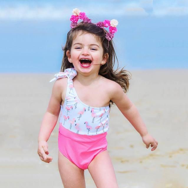 701d93bea 2019 Kids Swimsuits Baby Girl Flamingo One Piece Bikinis Summer Kids ...