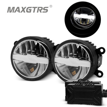 2x Universal Car Front DRL LED Bulb Lights High/low Light Daytime Running Light Fog Lamp Projector For Jeep Toyota Subaru Suzuki