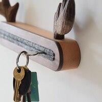 Solid wood elk Key holder housekeeper Wall storage hook Creative Key hook Home Decoration room accessories deer head