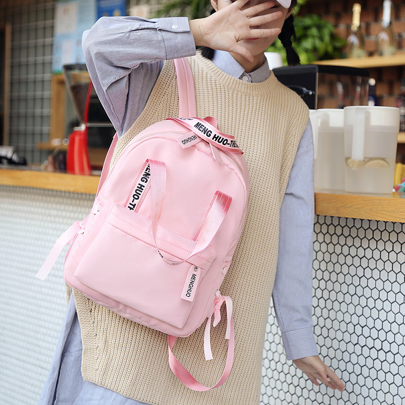 Menghuo Large Capacity Backpack Women Preppy School Bags For Teenagers Female Nylon Travel Bags Girls Bowknot Backpack Mochilas (9)