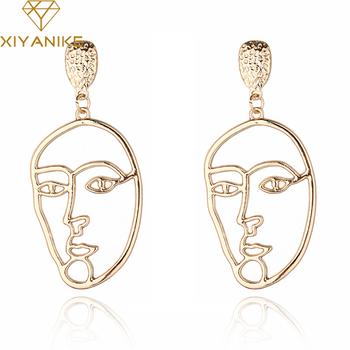 XIYANIKE Exaggerated Personality Hollow Out Gold Alloy Face Earrings Fashion Facial Contour Silhouette Earrings For Women E1352 earrings