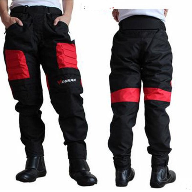 Top quality motorcycle pants DUHAN DK002 motocross racing pants red blue black with knee guards windproof pants M L XL XXL