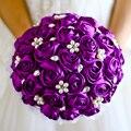 Free shipping Purple Rose flower bridal brooch bouquet Wedding Bride 's  Jewelry crystal Pearl Rhinestone Cloth fabric Bouquets
