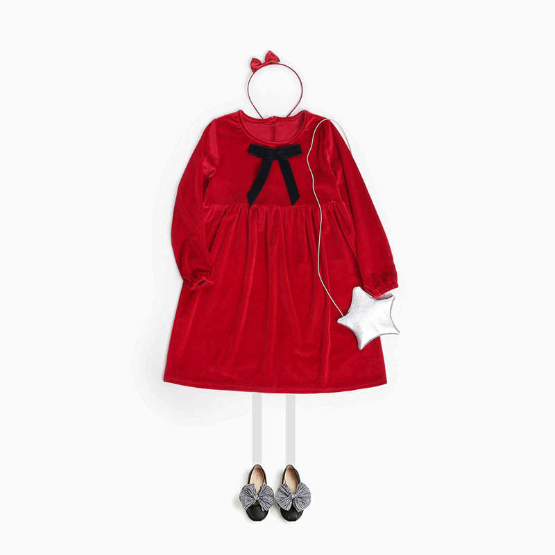 2018 Girls Dress Long Sleeve Christmas Dress for Baby Girls Red Kids Clothing Party Wedding Girls Dress Bow Velvet Dress Kids kids bow detail 2 in 1 dress