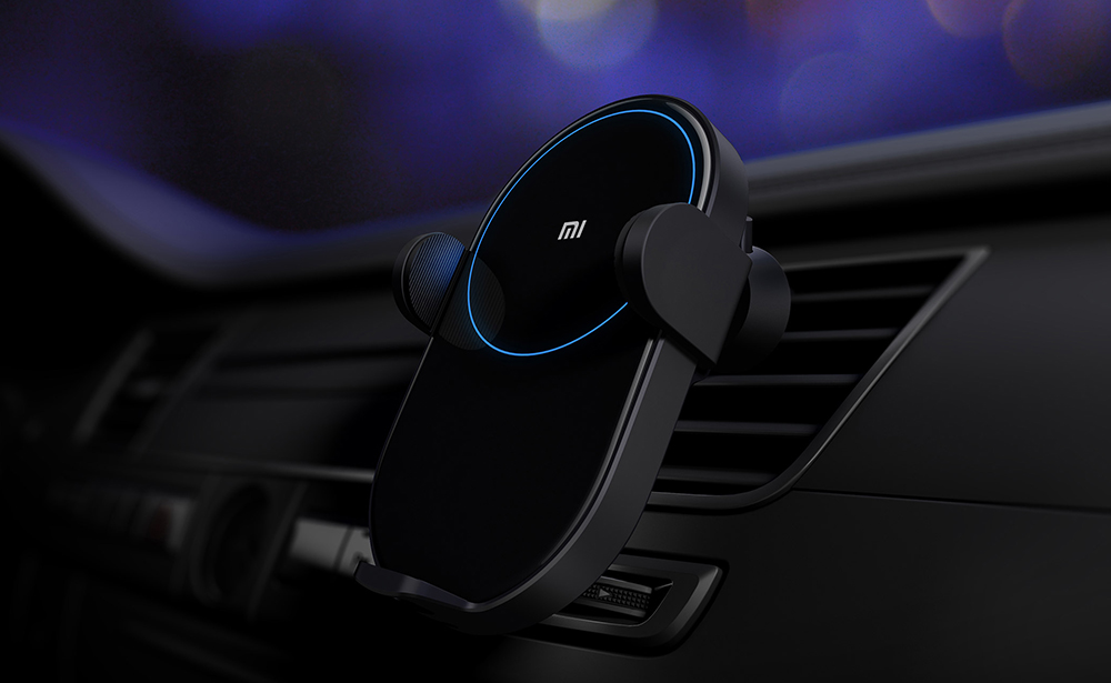 Xiaomi Mijia Wireless Car Charger Fast Charge 20W Max Electric Auto Pinch 2.5D Glass Ring Lit For Mi 9 10W 1
