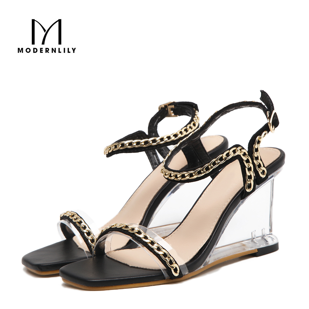 Shoes n sandals online - Wedges Heels Sandals Women Fashion Pu Leather Stripper Shoes Sexy Clear High Heels Jelly Sandals Women