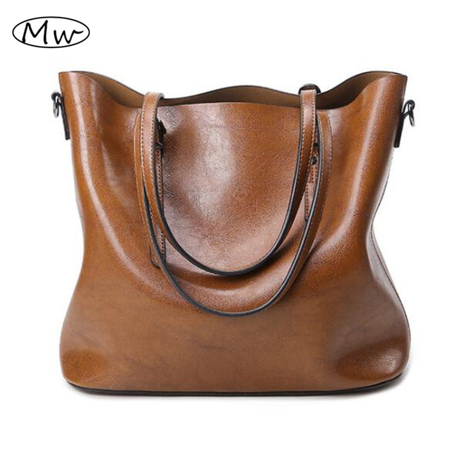 06d59323fac3 Autumn Fashion Women Leather Handbags Large Capacity Brown Tote Bag Oil Wax  Leather Shoulder Bag Crossbody Bags For Women M376