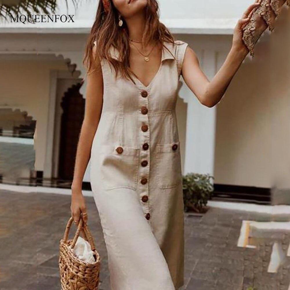 Vintage Button Summer Dresses Plus Size Women 2019 Sexy V-neck Short Sleeve Beach Dress Women Casual Sashes Pockets Dress Vestid