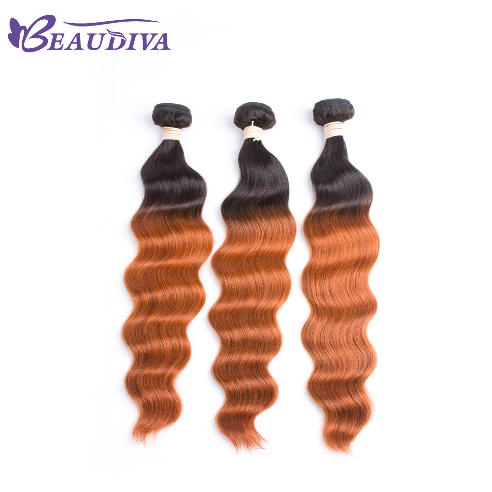 BEAUDIVA Pre-Colored T 1B/350 Ombre Color Brazilian Human Hair Bundles Ocean Wave 3PCS Hair 8-26inch ...
