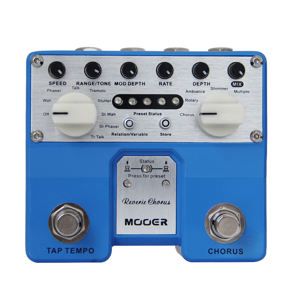 Guitar Effect Pedal MOOER Reverie Chorus Digital Chorus pedal Chorus, Rotary, Ambiance, Shimmer and Multiple japan one control bjf little copper chorus guitar effect pedal