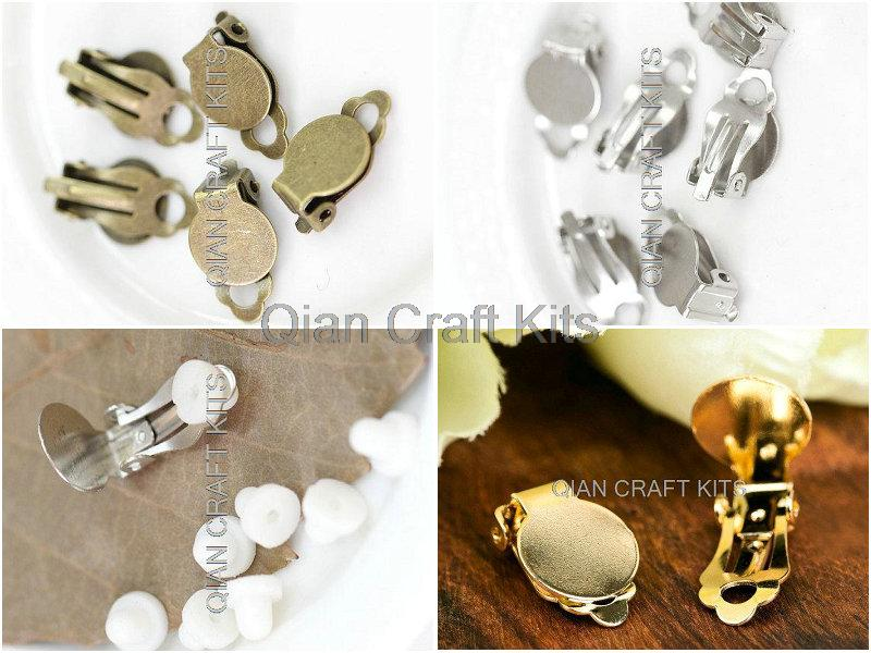 250sets mix color or your pick Silver,gold,antique bronze Clip On earrings w/10mm pads and free silicon protection pads