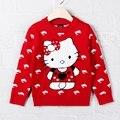 1-2 t del bebé del otoño invierno suéter de las muchachas niños ropa tire fille de algodón hello kitty cat dolphin prenda de punto rojo