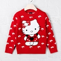 1-2T Autumn Winter Baby Girls Sweater  Children Clothing Pull Fille Cotton Hello Kitty Cat Dolphin Knit Red  Garment