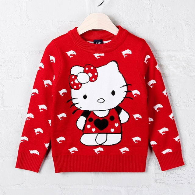 18f6edb2c 1-2T Autumn Winter Baby Girls Sweater Children Clothing Pull Fille Cotton Hello  Kitty Cat Dolphin Knit Red Garment Kids Clothes. Price: