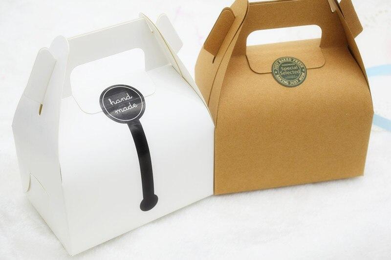 Free Shipping 80pcs Lot White Or Kraft Paper Cake Packaging Box