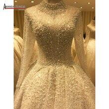 꽃다발 웨딩 드레스 전체 구슬 럭셔리 시니 신부 드레스 2020
