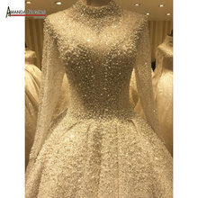 bouquet wedding dress full beading luxury shinny bridal dress 2020