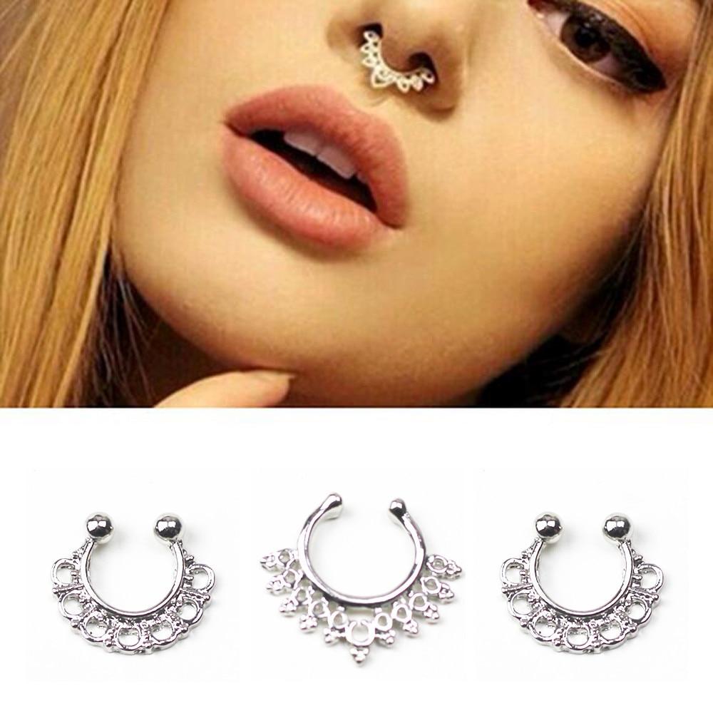 Piercing-Clip Lip-Rings Nose Septum Titanium Women Punk Unisex Medical Body