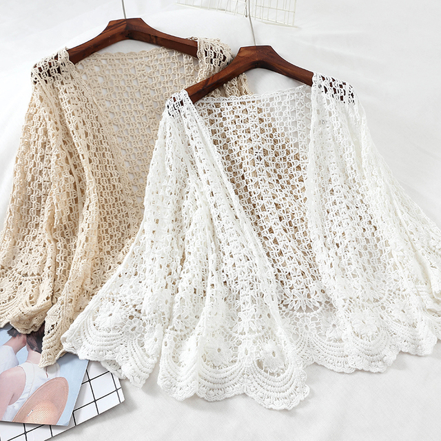 Open Lace Cardigan Crocheted Hollow Out Shrug Female Casual White Flower Floral Open Stitch Women Sweater Loose Knitted Outwear 2