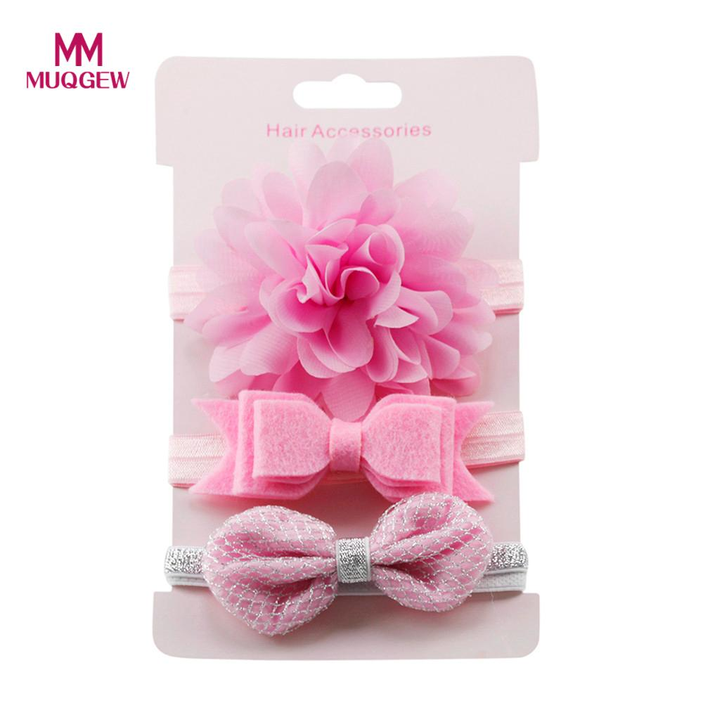 MUQGEW girls hair accessories 3Pcs Kids Elastic Floral Headband Hair Girls baby Bowknot Elastic bands Headwear Hairband Set 15 цена