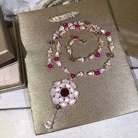 Элитный бренд модные вечерние украшения Для женщин мать жемчуга кулон красный кристалл Цепочки и ожерелья Гипербола Цепочки и ожерелья пре