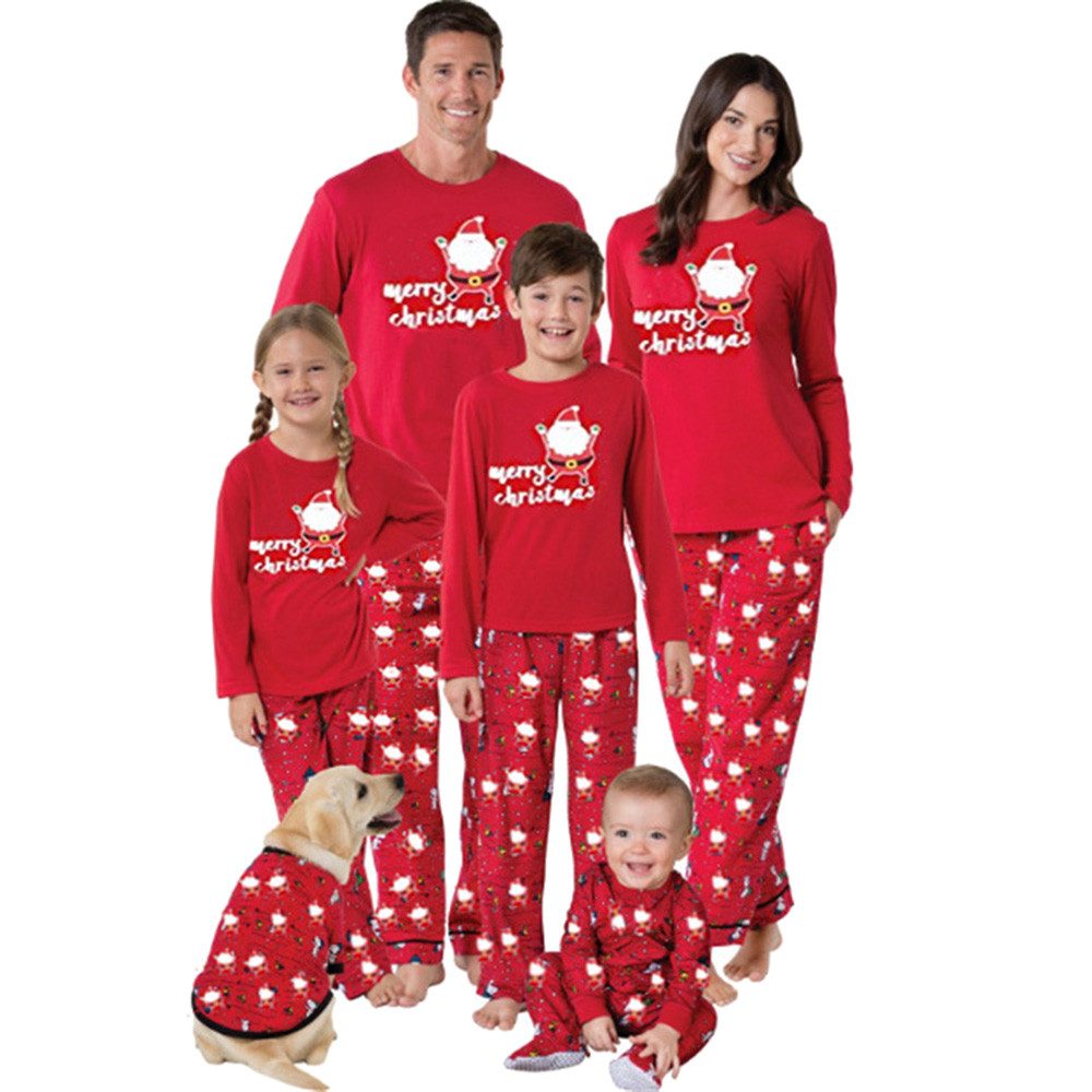 Family Matching Clothes Women Mom Santa Claus Tops Blouse Pants Family Pajamas Sleepwear Christmas Set Family Christmas Pajamas