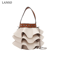 LANSO PU Totes Women Bucket Bag Fashion Wave Leather Casual Ladies Handbag Chain Purse Female Crossbody