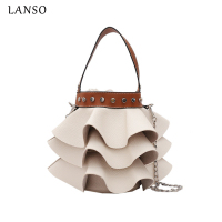 LANSO PU Totes Women Bucket Bag Fashion Wave Leather Casual Ladies Handbag Chain Purse Female Crossbody
