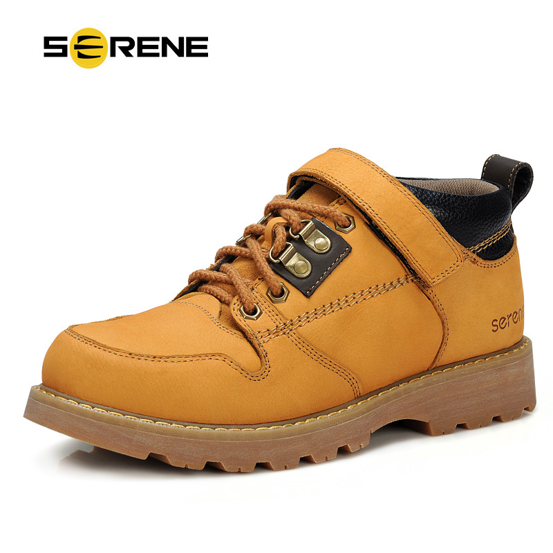 SERENE 2018 New Arrival Mens Shoes Leather Tooling Shoes Men Casual Waterproof Shoes Ankle High Top Quality Shoes Chukka 7131