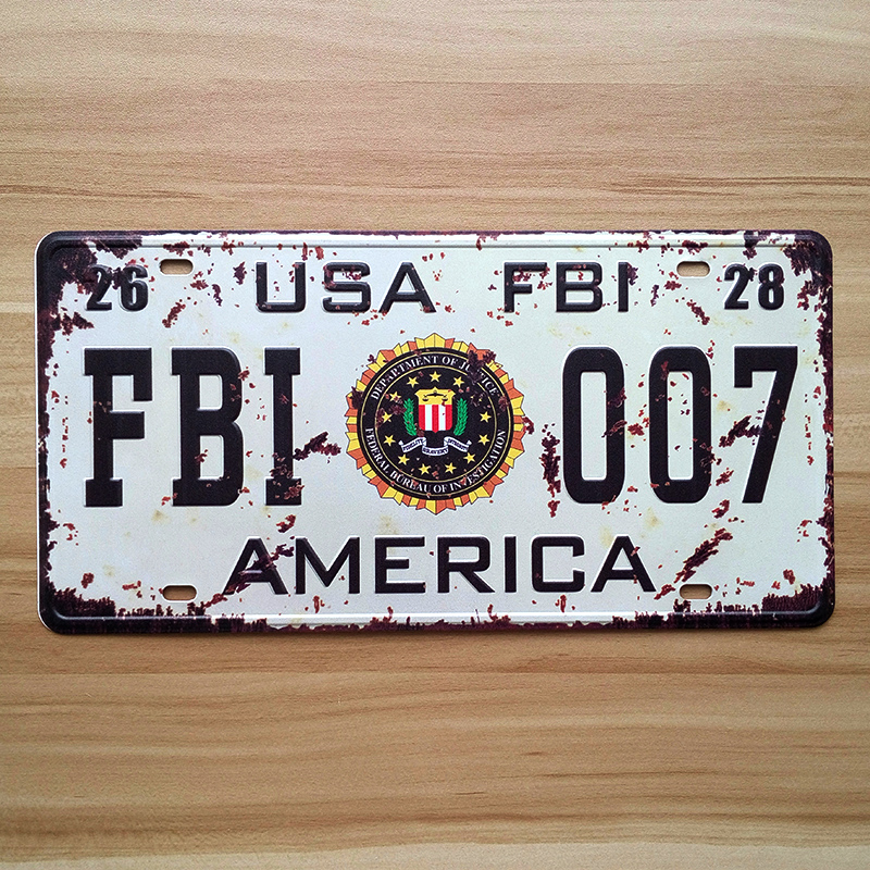 Free ship Vintage metal tin sign iron painting wall home decoration retro wall art plaque USA FBI 007 License Plate 15x30cm