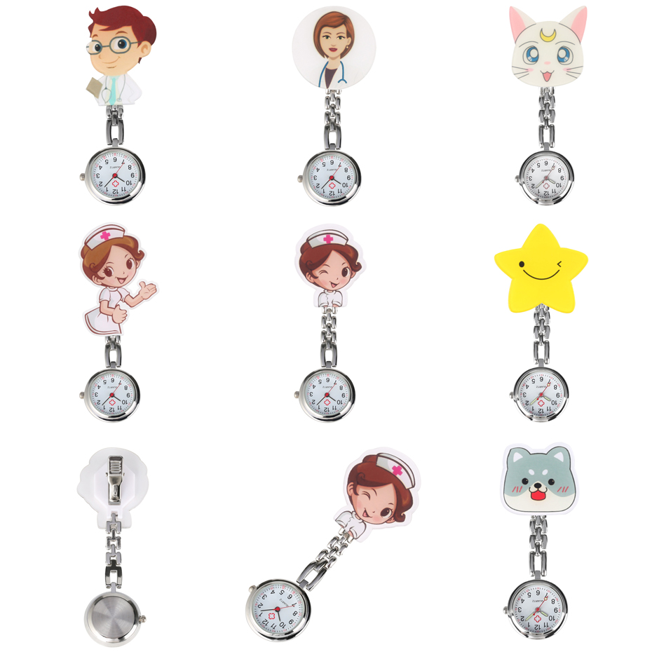 Cartoon Women Quartz Pocket Watch Nurse Clip Pendant Watches Doctor Lovely Pocket Hanging Clock New Medical Watches Gifts