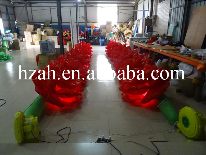 Light Inflatable Red Flower with Airblower party decor inflatable rose flower with light