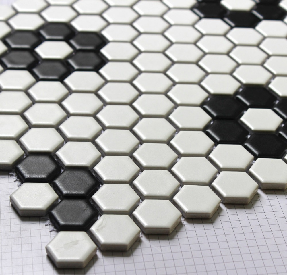 Black white hexagonal ceramic mosaic tile kitchen backsplash black white hexagonal ceramic mosaic tile kitchen backsplash swimming pool bathroom floor tiles 23x23mm 3d wall tile in wallpapers from home improvement on doublecrazyfo Choice Image