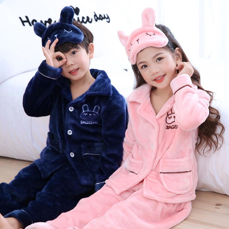 Autumn Winter Children Fleece   Pajamas     Set   Warm Flannel Sleepwear Girls Loungewear Coral Fleece Kids Pijamas Homewear Cute