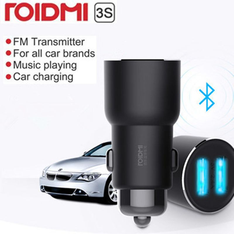 ROIDMI 3S Bluetooth Wireless Dual USB Car Charger For Phone 5V 2A Portable Fast Charging For iPhone Xr 7 8 Plus Charger AdapterROIDMI 3S Bluetooth Wireless Dual USB Car Charger For Phone 5V 2A Portable Fast Charging For iPhone Xr 7 8 Plus Charger Adapter
