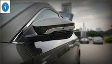 цена на Yimaautotrims Auto Accessory Side Door Rear View Mirror Cover Trim Garnish Molding Overlay Strip For Skoda Karoq 2018 2019 ABS