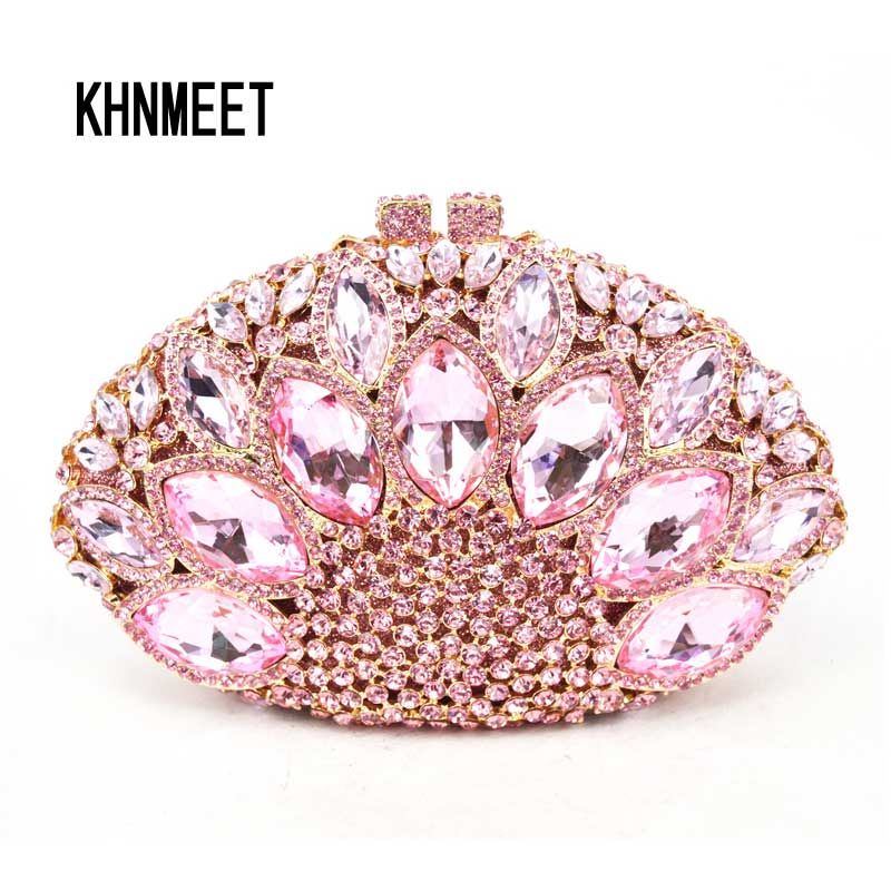 Fashion Luxury Brand Crystal Evening Bag Pink Diamond Clutch Bag nightclub Party Purse Bling Handbag  00106-c luxury crystal clutch handbag women evening bag wedding party purses banquet