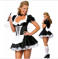 Free Shipping Sexy Costume French Maid Partywear Ruffle Lace Cosplay Servant Fancy Dress costume Garter Outfit plus size s-4xl