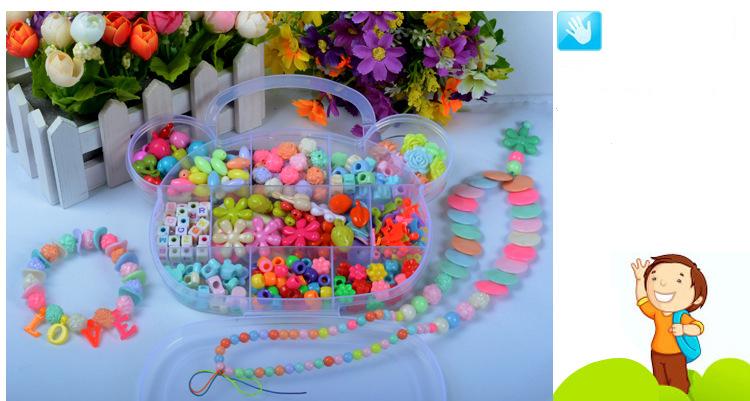 Children DIY Plastic Acrylic Bead Kit Girl Toys DIY Beaded Handmade Bracelet Amblyopia Training Color Puzzle Early Education Toy (16)