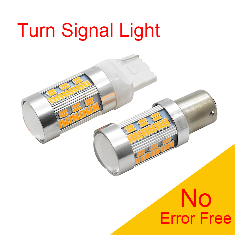 2pcs No Resistor Required 1156 BAU15S BA15s P21W T20 7440 LED Bulbs For Front Turn Signal Light Amber Yellow No Hyper Flash 2pc cree chip led 80w 1156 s25 ba15s amber orange 80w canbus bayonet indicator front rear turn signal light bulbs amber